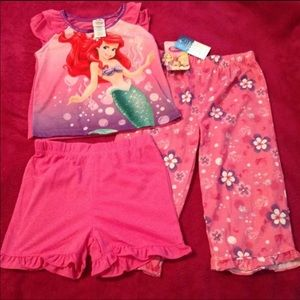 Disney Princess Ariel 3pcs Pajama Set 2t New